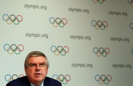 Thomas Bach, President of the International Olympic Committee (IOC) attends a news conference after an Executive Board meeting in Lausanne, Switzerland, May 22, 2019. REUTERS/Denis Balibouse