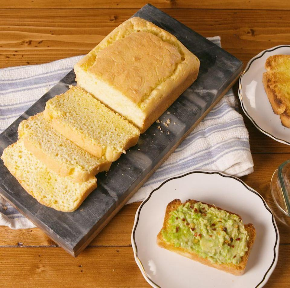 """<p>The key here is to get your whipped egg whites nice and stiff. Peaks should hold straight up when you lift your beaters out of the whites. </p><p>Get the <a href=""""https://www.delish.com/uk/cooking/recipes/a30975739/keto-bread-recipe/"""" rel=""""nofollow noopener"""" target=""""_blank"""" data-ylk=""""slk:Keto Bread"""" class=""""link rapid-noclick-resp"""">Keto Bread</a> recipe.</p>"""