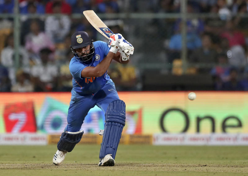 India's Rohit Sharma bats during the third one-day international cricket match between India and Australia in Bangalore, India, Sunday, Jan. 19, 2020. (AP Photo/Aijaz Rahi)