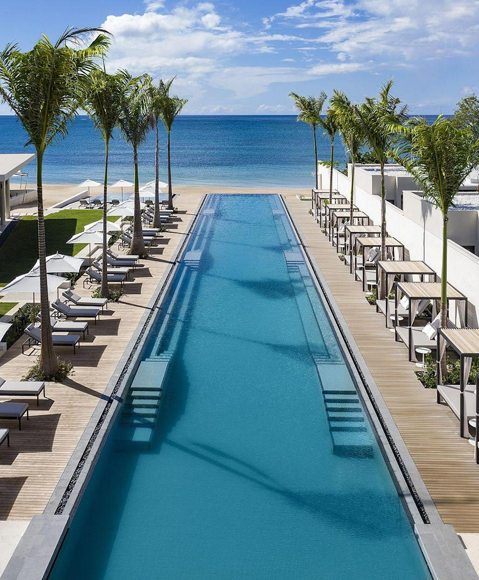 """<p>The longest pool in the Caribbean is jaw-dropping and part of five-star <a href=""""https://www.silversandsgrenada.com"""" rel=""""nofollow noopener"""" target=""""_blank"""" data-ylk=""""slk:Silversands"""" class=""""link rapid-noclick-resp"""">Silversands</a> overlooking the island's best beach, Grand Anse. Verdict: definitely room for us to socially distance in there.</p>"""