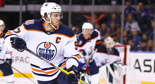 """<a class=""""link rapid-noclick-resp"""" href=""""/nhl/players/6743/"""" data-ylk=""""slk:Connor McDavid"""">Connor McDavid</a> desperately needs some help. (Photo by Joshua Sarner/Icon Sportswire via Getty Images)"""