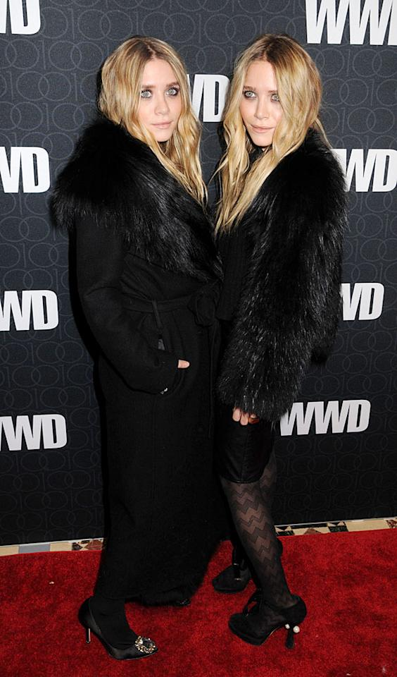 """Mega-mogul twin sisters Ashley and Mary-Kate Olsen sported their favorite goth granny getups for a star-studded <i>Women's Wear Daily</i> fete, held at Cipriani 42nd Street. Johns PkI/<a href=""""http://www.splashnewsonline.com"""" target=""""new"""">Splash News</a> - November 2, 2010"""