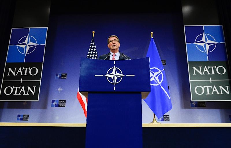 US defense minister Ashton Carter gives a press conference during a defense minister meeting at the NATO Headquarters in Brussels on October 8, 2015 (AFP Photo/John Thys)