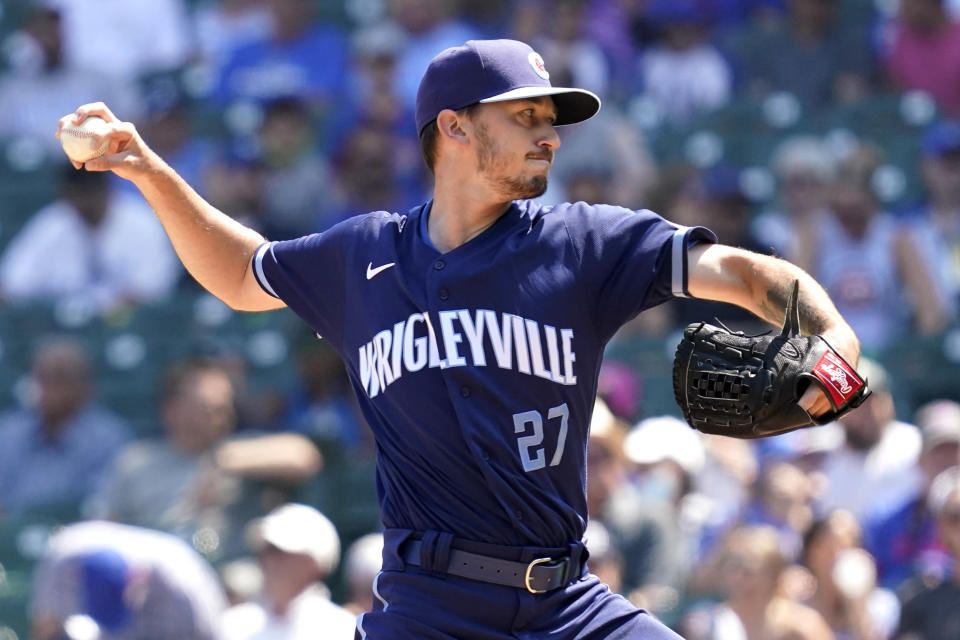 Chicago Cubs starting pitcher Zach Davies throws against the Kansas City Royals in the first inning of a baseball game Friday, Aug. 20, 2021, in Chicago. (AP Photo/Nam Y. Huh)