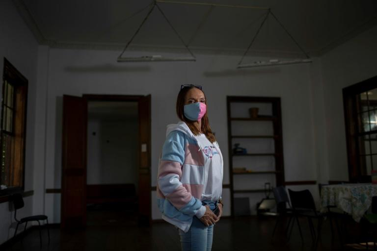 Capacitrans founder Andrea Brazil, 48, at the group's new headquarters, donated by a sponsor, in Rio de Janeiro's Lapa neighbourhood