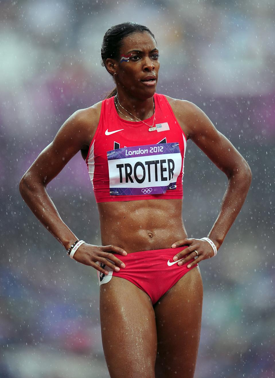 LONDON, ENGLAND - AUGUST 03: Dee Dee Trotter of the United States competes in the Women's 400m Heats on Day 7 of the London 2012 Olympic Games at Olympic Stadium on August 3, 2012 in London, England. (Photo by Stu Forster/Getty Images)