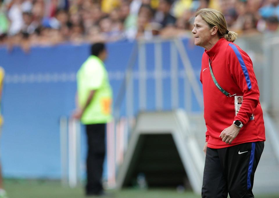 United States coach Jill Ellis give instructions to her player during a quarter-final match of the women's Olympic football tournament in Brasilia Friday Aug. 12, 2016. The United States were eliminated by Sweden after penalty shoot-out.(AP Photo/Eraldo Peres)