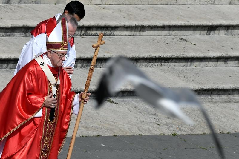 Pope Francis leads the Palm Sunday mass in St. Peter's square at the Vatican
