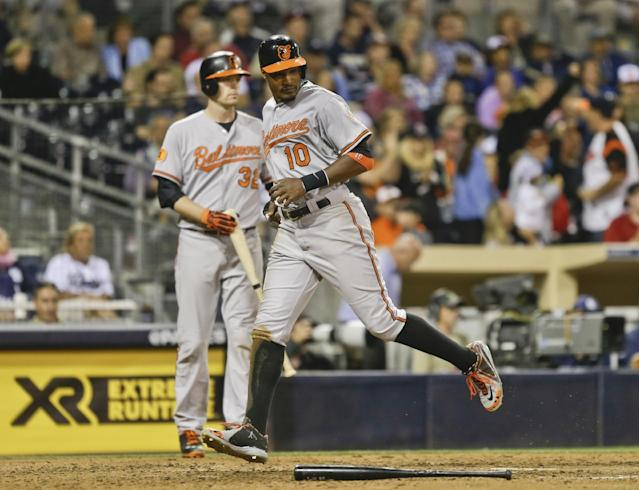 Baltimore Orioles' Adam Jones cruises across home plate scoring on a double by Chris Davis in the eighth inning of a baseball game against the San Diego Padres in San Diego, Tuesday, Aug. 6, 2013. (AP Photo/Lenny Ignelzi)