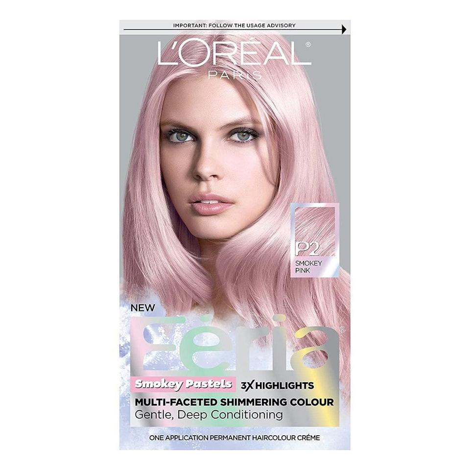 """<p>True to its name, L'Oréal Feria Multi-Faceted Shimmering Permanent Hair Color (which is still semi-permanent, despite its name) brings dimension into your hair, thanks to its highlights-infused formula and smoky-undertones effects, while ingredients such as coconut oil and glycerin help <a href=""""https://www.allure.com/story/how-to-have-healthy-hair?mbid=synd_yahoo_rss"""" rel=""""nofollow noopener"""" target=""""_blank"""" data-ylk=""""slk:keep hair healthy"""" class=""""link rapid-noclick-resp"""">keep hair healthy</a>. As with all pastels, it'll show up best on light blonde hair. <br> <br> Other pink shades: Rose Gold</p> <p><strong>$10</strong> (<a href=""""https://shop-links.co/1705321898091459105"""" rel=""""nofollow noopener"""" target=""""_blank"""" data-ylk=""""slk:Shop Now"""" class=""""link rapid-noclick-resp"""">Shop Now</a>)</p>"""