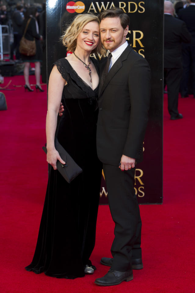 British actress Anne-Marie Duff, left, and British actor James McAvoy arrive for the Olivier Awards at the Royal Opera House, London, Sunday, April 15, 2012. (AP Photo/Jonathan Short)