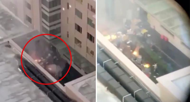Aerial footage shows small fires in the consulate courtyard.