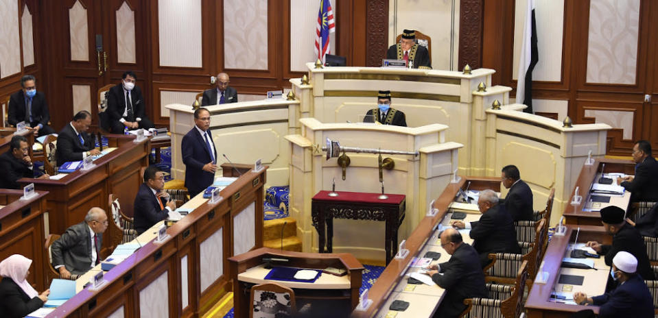 The Pahang State Legislative Assembly sitting at Wisma Sri Pahang in Kuantan in this file picture taken on August 24, 2020. — Bernama pic