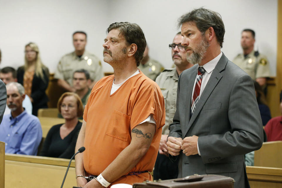 FILE - In this Aug. 15, 2017 file photo, Mark Redwine makes his first appearance in district court in Durango, Colo. Redwine was convicted by a jury on Friday, July 16, 2021, of second-degree murder and child abuse resulting in death in the 2012 disappearance of his 13-year-old son. (Jerry McBride/The Durango Herald via AP, File)