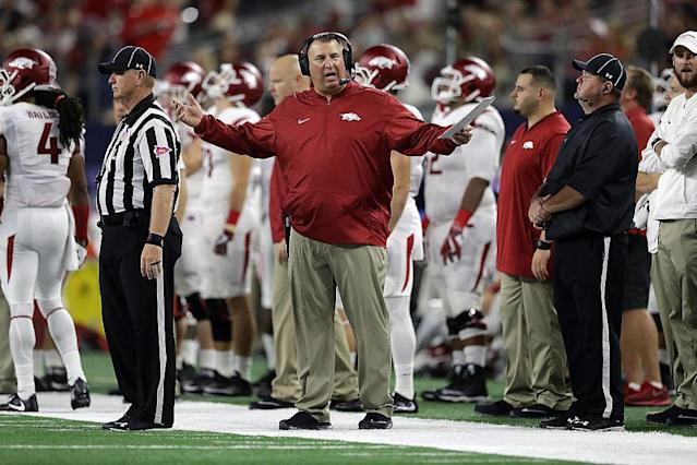 ARLINGTON, TX – SEPTEMBER 24: Head coach Bret Bielema. (Getty Images)