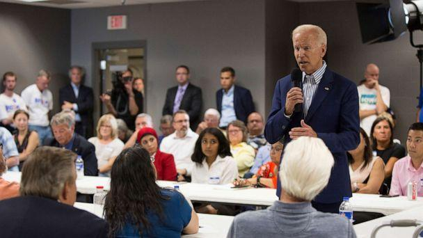 PHOTO: Democratic presidential candidate and former Vice President Joe Biden speaks at the Asian and Latino Coalition Town Hall at the Plumbers and Steamfitters Local 33 on August 8, 2019, in Des Moines, Iowa. (Jason Bergman/Sipa USA via AP)