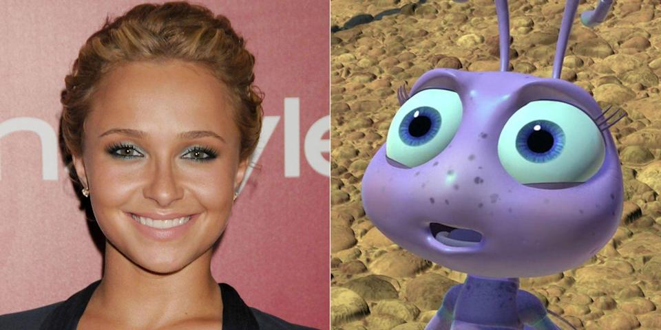 """<p>Long before she was the darling of <em>Nashville</em>, Hayden Panettiere voiced the young ant Dot as a child star in 1998's <em>A Bug's Life</em>. (She <a href=""""https://www.youtube.com/watch?v=AslH-5N5rRw"""" rel=""""nofollow noopener"""" target=""""_blank"""" data-ylk=""""slk:told Harry Connick Jr."""" class=""""link rapid-noclick-resp"""">told Harry Connick Jr.</a> that her own daughter isn't interested in the movie anymore and prefers <em>Finding Nemo</em>.) In 2010, she also played a happy little lemur named Suri in <em>Dinosaur</em>.</p>"""