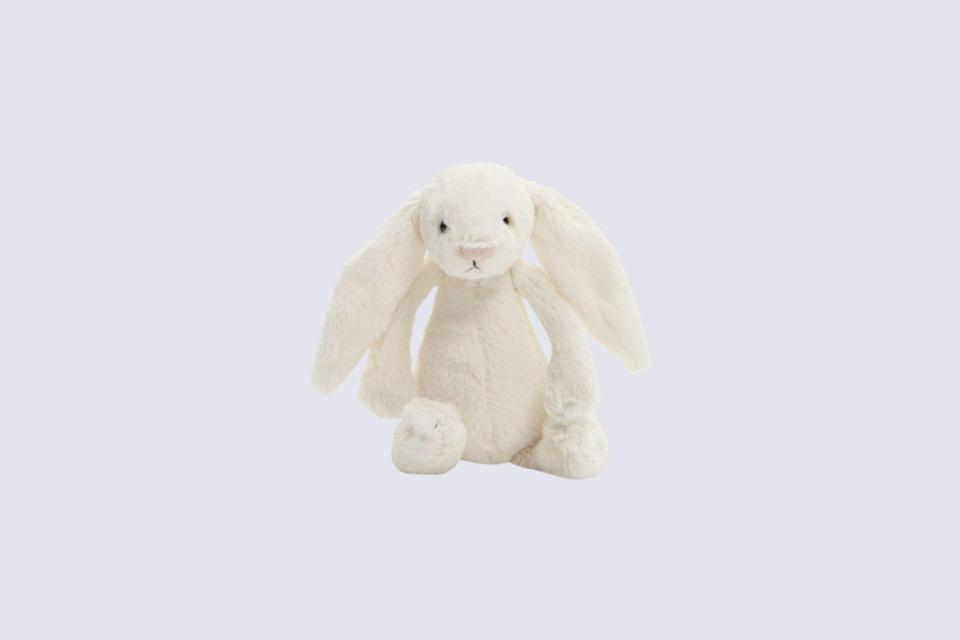 """<p>Snuggly, cuddly, and classic in design—this super-soft bunny is a bestseller, so your little one always has their cuddly companion.</p> <p><strong><em>Shop Now: </em></strong><em>Jellycat Small Bashful Bunny Stuffed Animal, $15, <a href=""""https://click.linksynergy.com/deeplink?id=93xLBvPhAeE&mid=1237&murl=https%3A%2F%2Fshop.nordstrom.com%2Fs%2Fjellycat-small-bashful-bunny-stuffed-animal%2F4408098&u1=MSL25GiftsforaBabyShowerinaBoxDeliveryPackagerhaarsBabGal7845171202007I"""" rel=""""nofollow noopener"""" target=""""_blank"""" data-ylk=""""slk:nordstrom.com"""" class=""""link rapid-noclick-resp"""">nordstrom.com</a></em><em>.</em></p>"""