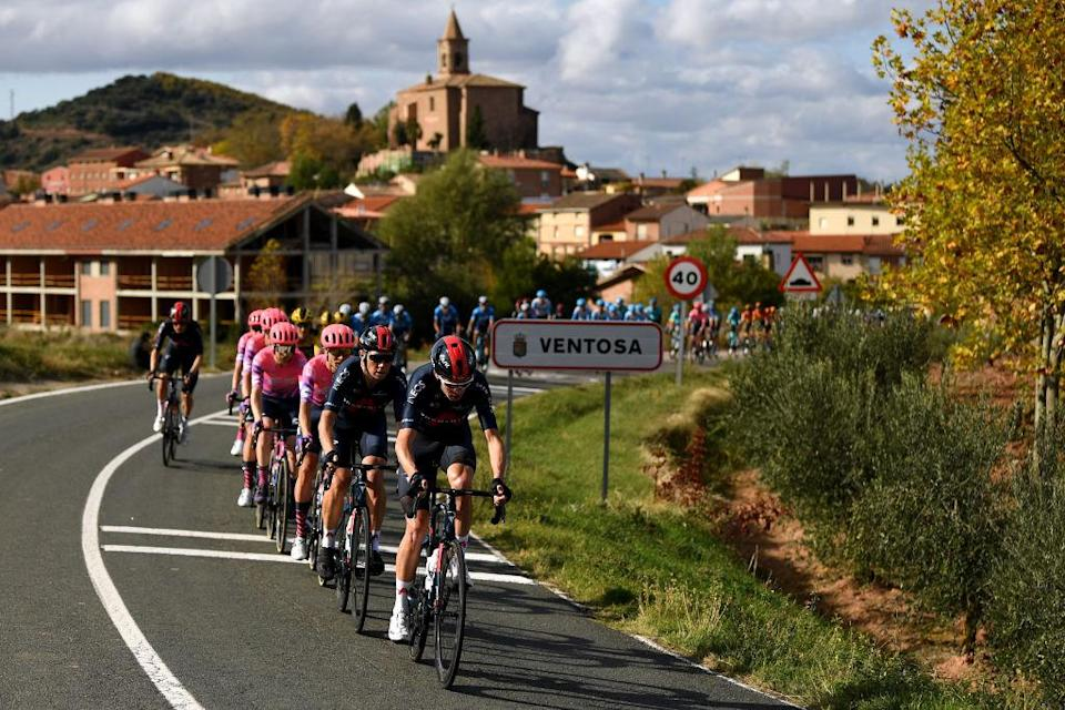 ALTODEMONCALVILLO SPAIN  OCTOBER 28 Christopher Froome of The United Kingdom and Team INEOS  Grenadiers  Cameron Wurf of Australia and Team INEOS  Grenadiers  Magnus Cort Nielsen of Denmark and Team EF Pro Cycling  Peloton  Ventosa Village  Landscape  during the 75th Tour of Spain 2020 Stage 8 a 164km stage from Logroo to Alto de Moncalvillo 1490m  lavuelta  LaVuelta20  on October 28 2020 in Alto de Moncalvillo Spain Photo by David RamosGetty Images