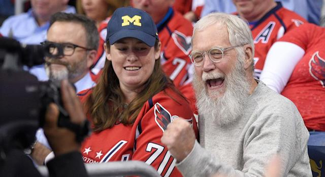 <p>David Letterman, a Rangers fan, takes in Game 1 between the Capitals and Penguins in D.C. (Nick Wass/AP) </p>