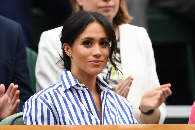 The Duchess of Sussex attends the Wimbledon Lawn Tennis Championships in July 2018.