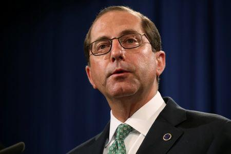 U.S. Secretary of Health and Human Services (HHS) Alex Azar addresses a news conference to announce a nation-wide health care fraud and opioid enforcement action, at the Justice Department in Washington, U.S. June 28, 2018.  REUTERS/Jonathan Ernst