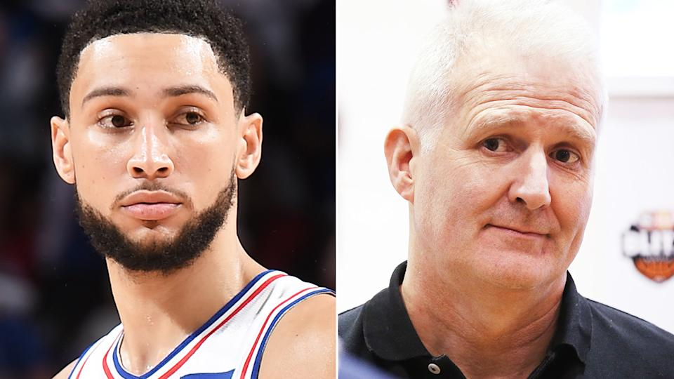 A split image shows NBA star Ben Simmons on the left and Australian basketball icon Andrew Gaze on the right.