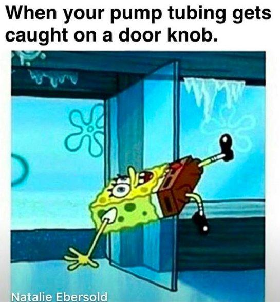 spongebob falling on floor when your pump tubing gets caught on a door knob