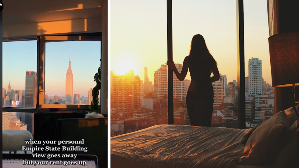 Screenshot of TikTok video showing Empire State Building, stock image shows woman looking out of large windows at city.