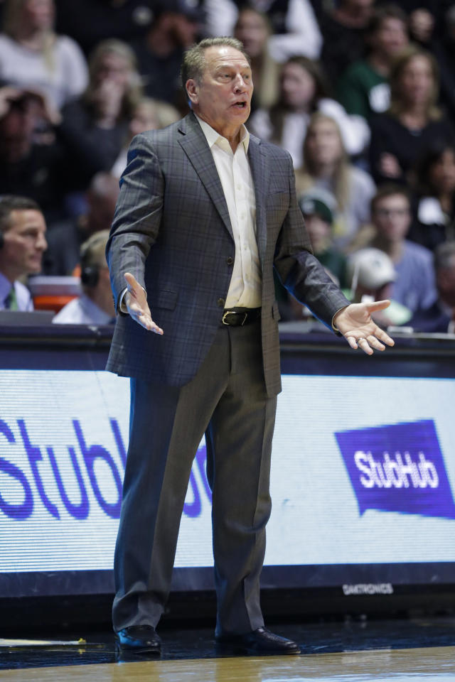 Michigan State head coach Tom Izzo reacts to a call during the second half of an NCAA college basketball game against Purdue in West Lafayette, Ind., Sunday, Jan. 12, 2020. (AP Photo/Michael Conroy)