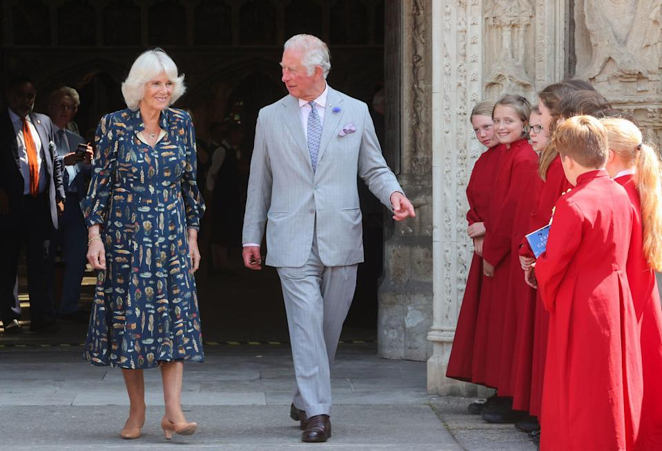 The Prince of Wales and Duchess of Cornwall leaving after their visit to Exeter Cathedral (PA)