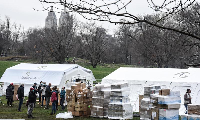 An emergency field hospital in Manhattan's Central Park, will begin taking patients on Tuesday.
