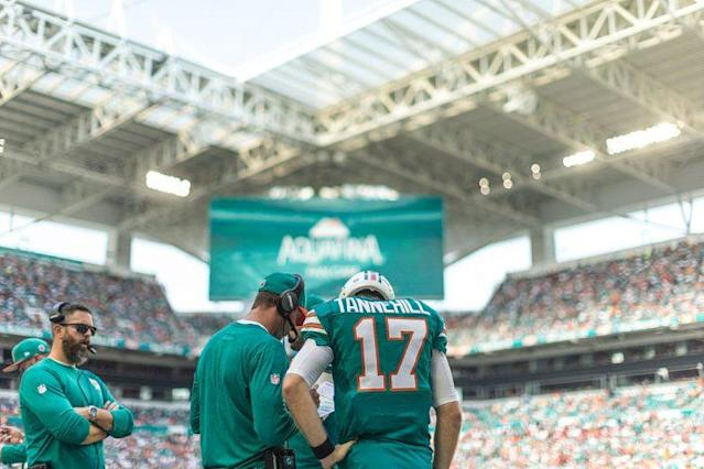 """The collaboration between <a class=""""link rapid-noclick-resp"""" href=""""/nfl/players/25718/"""" data-ylk=""""slk:Ryan Tannehill"""">Ryan Tannehill</a> and Adam Gase went as well as anyone could have expected last year. (Photo by Robin Alam/Icon Sportswire via Getty Images)"""