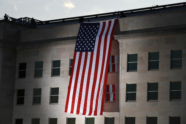 <p>A U.S. flag is unfurled at the Pentagon on the 16th anniversary of the Sept. 11 attacks Monday, Sept. 11, 2017. (Photo: Jacquelyn Martin/AP) </p>
