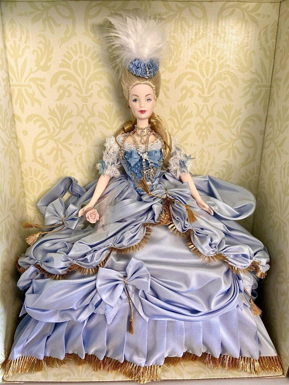 "<p>This limited-edition Marie Antoinette doll is extravagant, and I wouldn't have it any other way. Her shoes aren't plastic but porcelain for crying out loud! The one-of-a-kind doll is worth <a href=""https://www.ebay.com/itm/NRFB-Marie-Antoinette-Barbie-Doll-Deluxe-Limited-Woman-of-Royalty-Gold-Label/254768019313?hash=item3b515b7771:g:gJMAAOSw8vpfffr2"" rel=""nofollow noopener"" target=""_blank"" data-ylk=""slk:some serious dough"" class=""link rapid-noclick-resp"">some serious dough</a>, ringing in at $1,100. </p>"