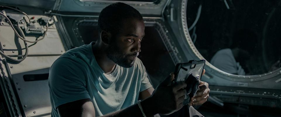 Shamier Anderson as Michael Adams in Stowaway (Netflix)