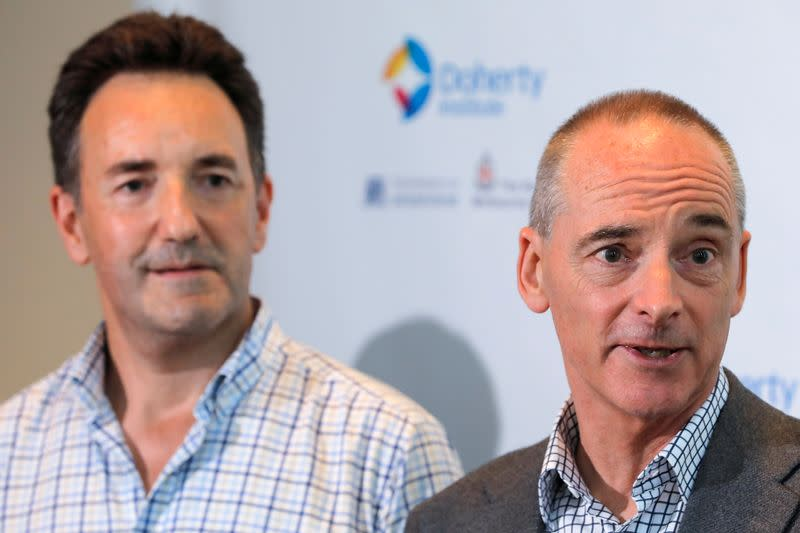 The Royal Melbourne Hospital's Dr Julian Druce, Virus Identification Laboratory Head at the Doherty Institute and Dr Mike Catton, Deputy Director of the Doherty Institute address media to announce having successfully grown the Wuhan coronavirus