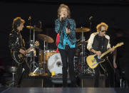 """FILE - Mick Jagger, center, Keith Richards, right, and Ronnie Wood, left, of the Rolling Stones perform during the """"No Filter"""" tour in Oro-Medonte, Ontario, on June 29, 2019. The group is among several musicians who are objecting to their songs being used at President Donald Trump's campaign rallies. (Fred Thornhill/The Canadian Press via AP, File)"""