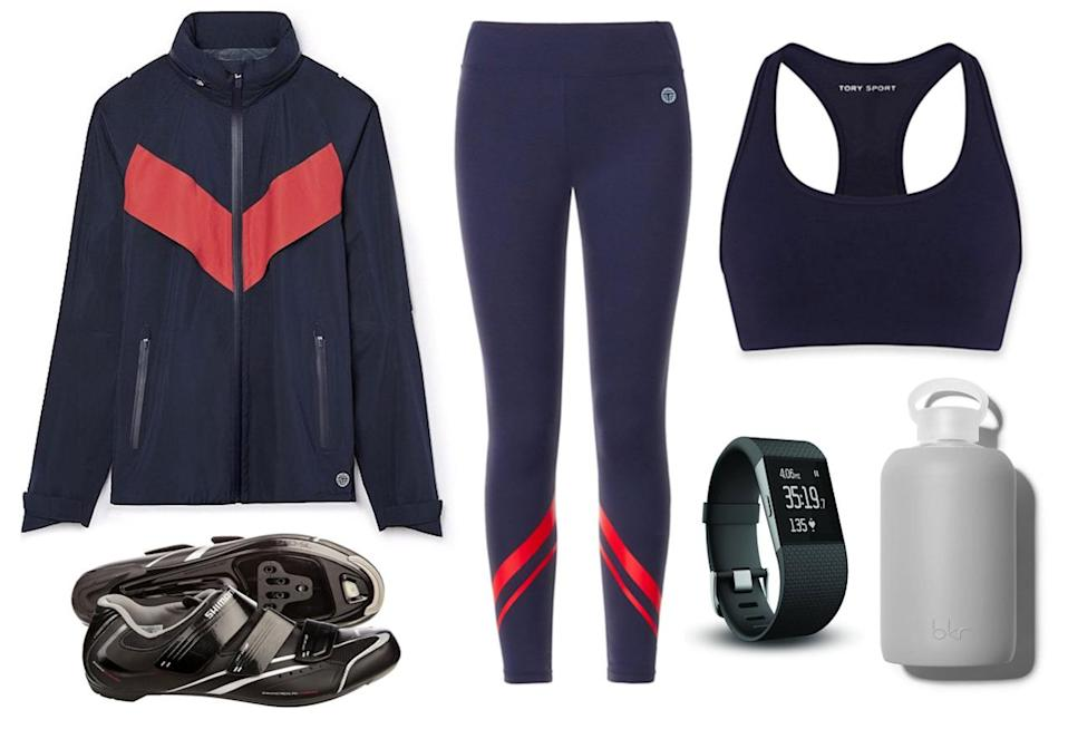 <p>Group stationary cycling classes, like those offered at Soul Cycle, have become an exercise staple for fitness newbies and gurus alike. Pedal away those pecan pies in style with a matching outfit from Tory Sport, and track your caloric burns with a trendy Fitbit.</p>
