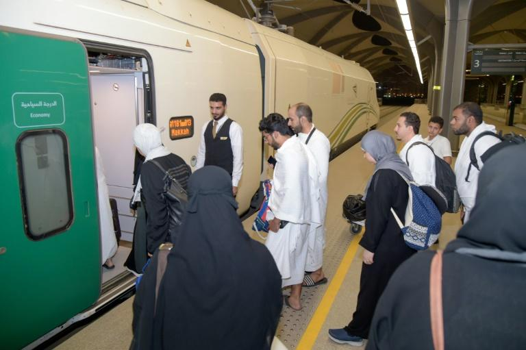 Saudi Arabia opened a new high-speed rail line last year in one step to address the huge challenge of transporting pilgrims around the Muslim holy sites (AFP Photo/Khaled AL-HAJ)