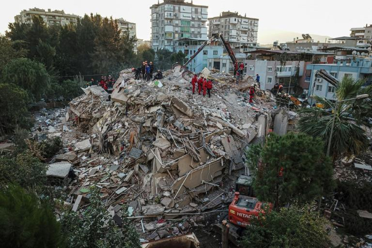 Rescuers race to find survivors in the Turkish region of Izmir after an earthquake hit Friday