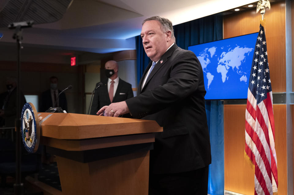 Secretary of State Mike Pompeo arrives to speak during a media briefing, Tuesday, Nov. 10, 2020, at the State Department in Washington. (AP Photo/Jacquelyn Martin, Pool)