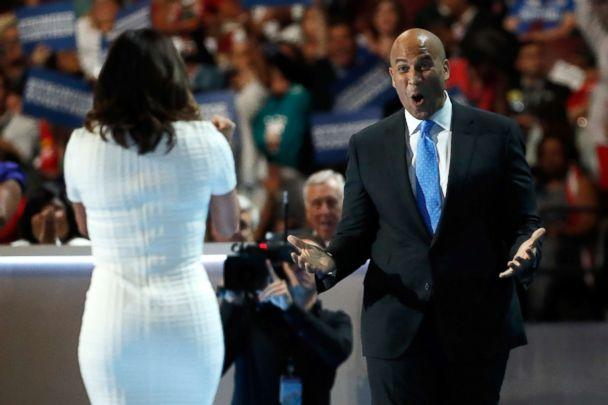 PHOTO: Sen. Cory Booker reacts after actress Eva Longoria introduced him on the first day of the Democratic National Convention at the Wells Fargo Center, July 25, 2016, in Philadelphia. (Aaron P. Bernstein/Getty Images, FILE)