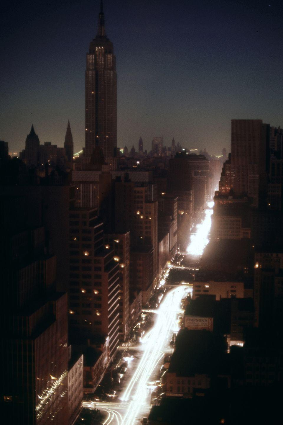 <p>Time-lapse view of bumper-to-bumper street traffic as it provides the only illumination to Manhattan in July.</p>