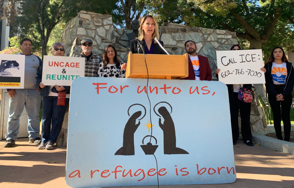 Arizona State Rep. Kelli Butler speaks at a media conference on Thursday, Dec. 19, 2019 in Phoenix, AZ. Butler spoke about 23-year-old Maria, a Guatemalan woman seeking asylum who was separated from her 6-year-old niece, who she has raised as her own. Democrats and community advocates are calling on Immigration and Customs Enforcement to release the woman so she could be reunited with her niece, who is a in shelter in New York. (AP Photo/Astrid Galvan)
