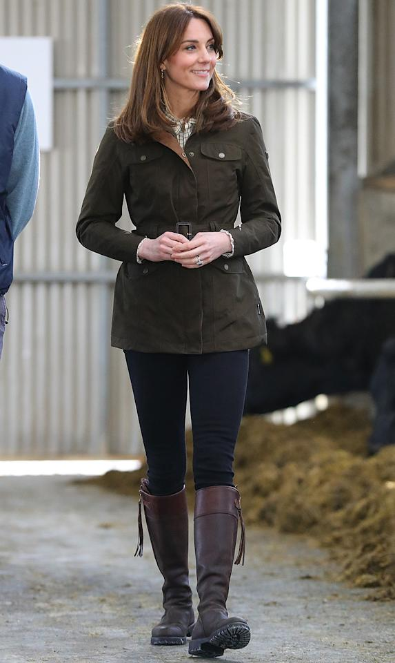 """<p>The Duke and Duchess of Cambridge <a href=""""https://people.com/royals/kate-middleton-recycles-her-15-year-old-boots-for-day-on-the-farm-with-prince-william/"""">visited a farm in a rural area west of Dublin</a> to learn more about new thinking in sustainable farming. Kate wore an olive-green belted utility jacket from Dubarry (in another twinning moment with William!), skinny jeans, and her <a href=""""https://people.com/style/kate-middleton-riding-boots-nordstrom/"""">beloved Penelope Chilvers brown riding boots</a>.</p><p><strong>Get the Look!</strong></p><p>Calvin Klein Belted Utility Jacket, $112.13 with code PREVIEW (orig. $149.50); <a href=""""https://click.linksynergy.com/deeplink?id=93xLBvPhAeE&mid=3184&murl=https%3A%2F%2Fwww.macys.com%2Fshop%2Fproduct%2Fcalvin-klein-belted-utility-jacket%3FID%3D10522730&u1=PEO%2CEverythingYouNeedtoCopyKateMiddleton%E2%80%99sSpringStyle%2Ckphillip%2CRoy%2CGal%2C7706765%2C202003%2CI"""" target=""""_blank"""" rel=""""nofollow"""">macys.com</a></p><p>Only Kenya Utility Jacket, $79; <a href=""""https://click.linksynergy.com/deeplink?id=93xLBvPhAeE&mid=1237&murl=https%3A%2F%2Fshop.nordstrom.com%2Fs%2Fonly-kenya-utility-jacket%2F5526963%2Ffull&u1=PEO%2CEverythingYouNeedtoCopyKateMiddleton%E2%80%99sSpringStyle%2Ckphillip%2CRoy%2CGal%2C7706765%2C202003%2CI"""" target=""""_blank"""" rel=""""nofollow"""">nordstrom.com</a></p><p>Amazon Essentials Utility Jacket, $32; <a href=""""https://www.amazon.com/Amazon-Essentials-Womens-Utility-Jacket/dp/B07JM63641/ref=as_li_ss_tl?ie=UTF8&linkCode=ll1&tag=poamzfkatemiddletonspringstylekphillips0320-20&linkId=1fbaf2a5a350a606f516d0b6bf9c4b28&language=en_US"""">amazon.com</a></p><p>Lucky Brand Utility Jacket, $99; <a href=""""https://click.linksynergy.com/deeplink?id=93xLBvPhAeE&mid=1237&murl=https%3A%2F%2Fshop.nordstrom.com%2Fs%2Flucky-brand-utility-jacket%2F5462280%2Ffull&u1=PEO%2CEverythingYouNeedtoCopyKateMiddleton%E2%80%99sSpringStyle%2Ckphillip%2CRoy%2CGal%2C7706765%2C202003%2CI"""" target=""""_blank"""" rel=""""nofollow"""">nordstrom.com</a></p>"""