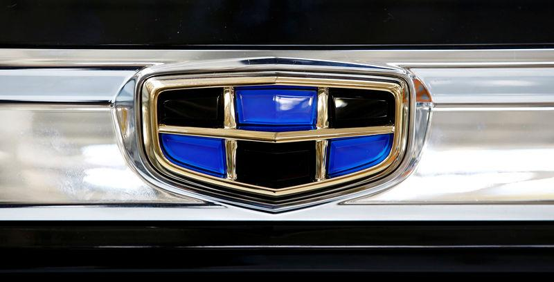 FILE PHOTO: A logo of Geely automobile company is seen on a car at the Belarusian-Chinese closed joint-stock company BelGee plant in Zhodino