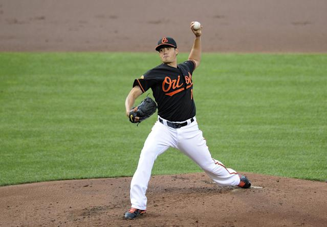 Baltimore Orioles starting pitcher Wei-Yin Chen, of Taiwan, delivers against the Colorado Rockies during the second inning of a baseball game, Friday, Aug. 16, 2013, in Baltimore. (AP Photo/Nick Wass)