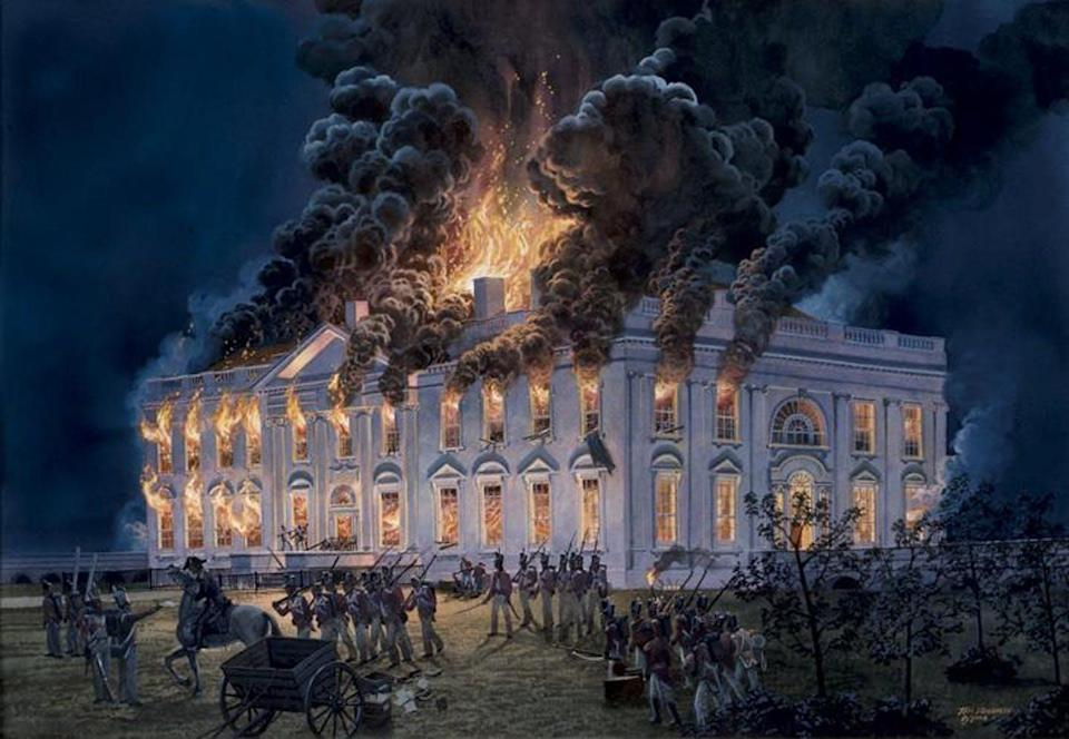 A painting of the White House being burned down by British troops.
