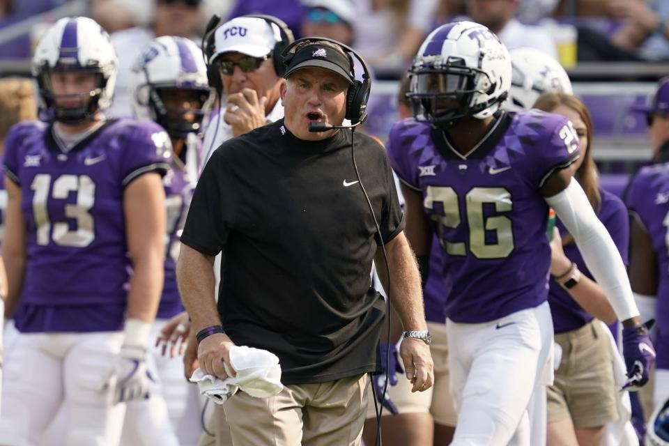 TCU head coach Gary Patterson instructs his team in the second half of an NCAA college football game against California in Fort Worth, Texas, Saturday, Sept. 11, 2021. (AP Photo/Tony Gutierrez)